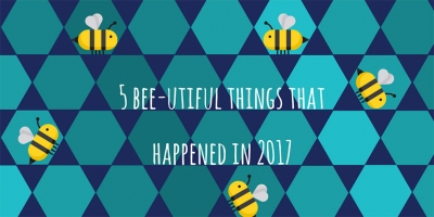 5 bee-utiful things that happened in 2017 cover animated image with bees